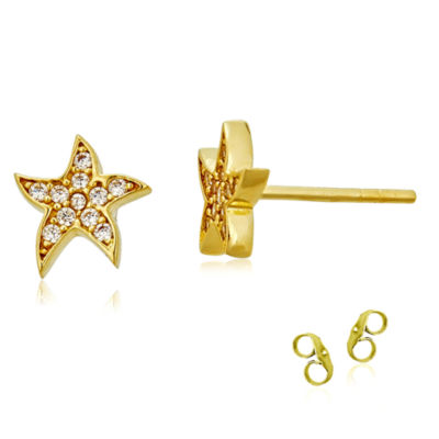 1/5 CT. T.W. White Cubic Zirconia 14K Gold 8.5mm Star Stud Earrings