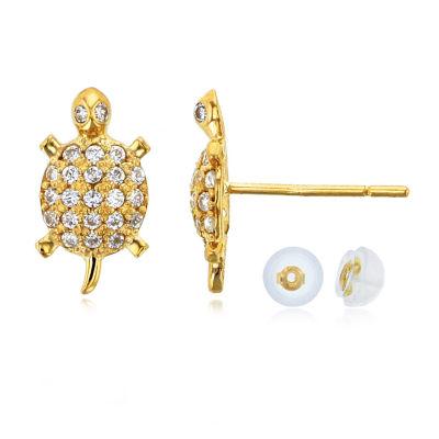 3/8 CT. T.W. White Cubic Zirconia 14K Gold 10mm Stud Earrings