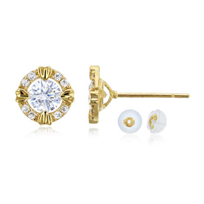 1 CT. T.W. White Cubic Zirconia 14K Gold 8mm Round Stud Earrings