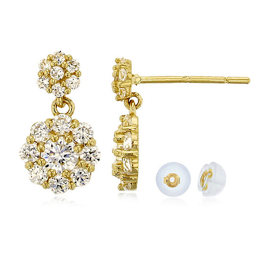 1 CT. T.W. White Cubic Zirconia 14K Gold Round Drop Earrings