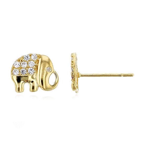 1/6 CT. T.W. White Cubic Zirconia 14K Gold 8mm Stud Earrings