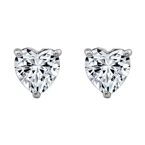 DiamonArt® White Cubic Zirconia Sterling Silver 16.6mm Heart Stud Earrings