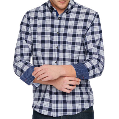 Society Of Threads 4 Way Stretch Long Sleeve Checked Button-Down Shirt-Big and Tall