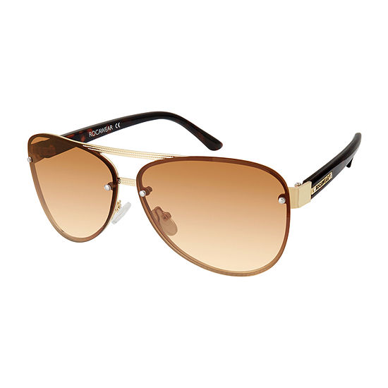 Rocawear Womens Rimless Aviator UV Protection Sunglasses