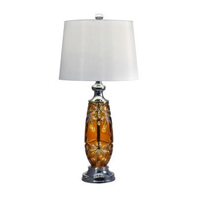 Dale Tiffany Sandy Amber Lead Handcut Crystal Table Lamp