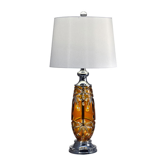 Dale Tiffany Sandy Amber Lead Handcut Crystal Table Lamp