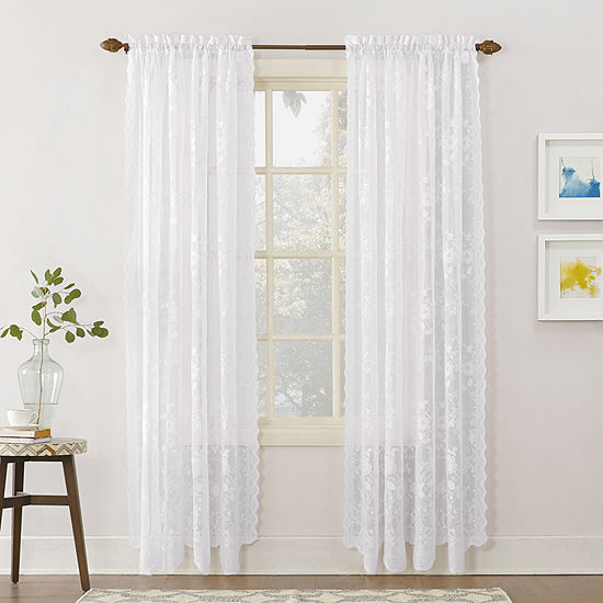 Home Expressions™ Jessica Lace Sheer Rod-Pocket Set of 2 Curtain Panels