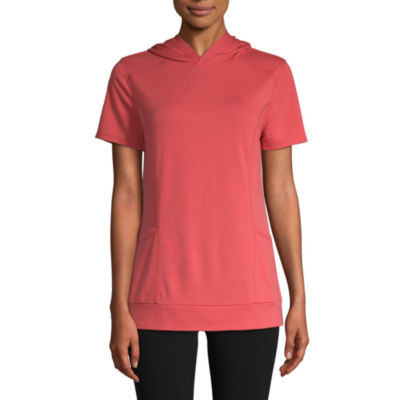 St. John's Bay Active Womens Short Sleeve French Terry Hoodie