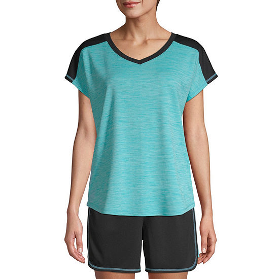 db57bdce4d074 St. John's Bay Active Color Block-Womens V Neck Short Sleeve T-Shirt