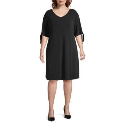 Worthington Short Sleeve A-Line Dress-Plus