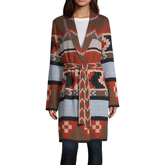 a.n.a Womens Collar Neck Long Sleeve Geometric Cardigan