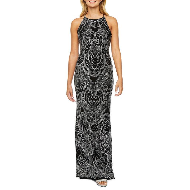 1920s Evening Dresses & Formal Gowns Blu Sage Sleeveless Glitter Knit Evening Gown $67.49 AT vintagedancer.com