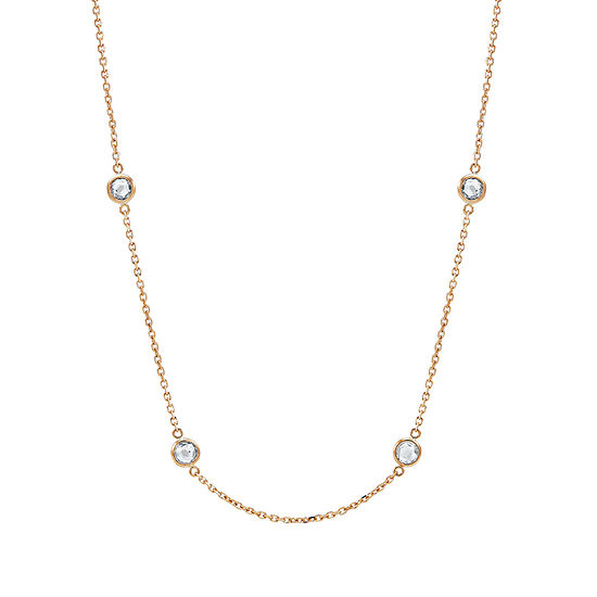 Womens 18 Inch Cubic Zirconia 10K Gold Link Necklace