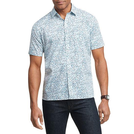 Van Heusen Mens Never Tuck Short Sleeve Button-Front Shirt
