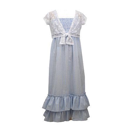 Victorian Kids Costumes & Shoes- Girls, Boys, Baby, Toddler Bonnie Jean Little  Big Girls Sleeveless Striped Maxi Dress 16.5 Plus  Blue $20.99 AT vintagedancer.com