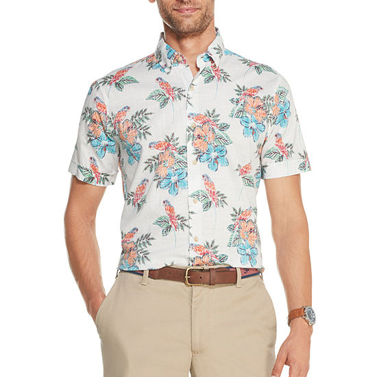 IZOD Mens Short Sleeve Dockside Chambray Floral Button-Down Shirt