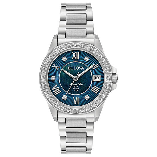 Bulova Marine Star Womens Silver Tone Stainless Steel Bracelet Watch-96r215