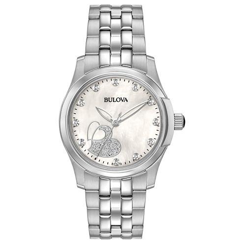 Bulova Womens Silver Tone Bracelet Watch-96p182