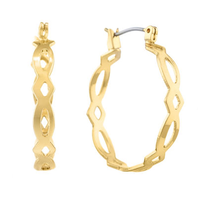 Monet® Gold-Tone Medium Woven Hoop Earrings