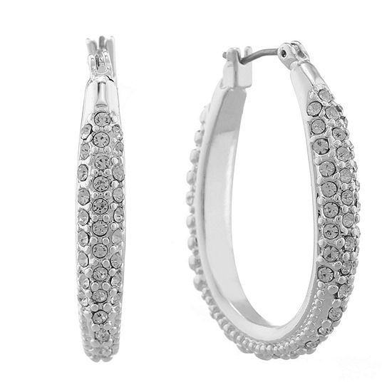 Monet Silver Tone Crystal Oval Hoop Earrings