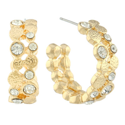 Monet® Gold-Tone & Glass C-Hoop Earrings