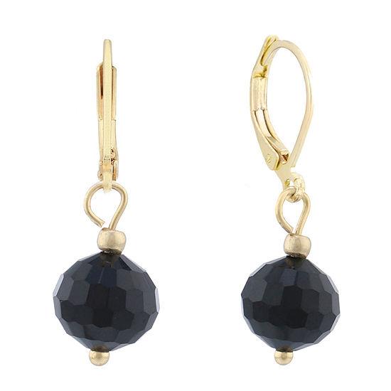 Monet® Gold-Tone Black Bead Drop Earrings