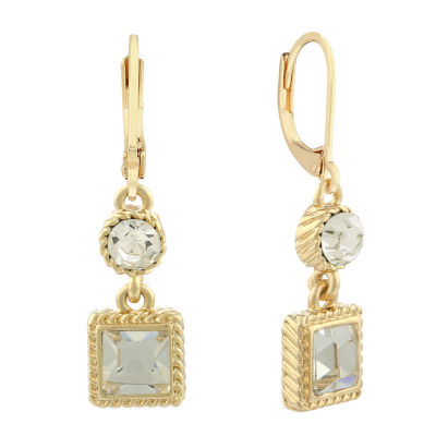 Monet® Crystal and Gold-Tone Double Drop Earrings