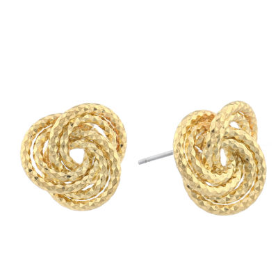 Monet® Gold-Tone Diamond-Cut Love Knot Button Earrings