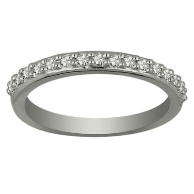 Womens 1/6 CT. T.W. Genuine White Diamond Platinum Band