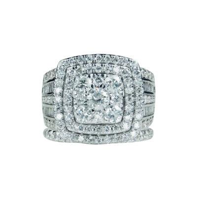 Modern Bride Signature Womens 4 CT. T.W. Genuine White Diamond 14K Gold Bridal Set