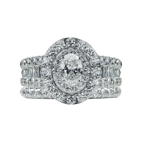 Modern Bride Signature Womens 2 1/2 CT. T.W. Genuine White Diamond 14K Gold Bridal Set
