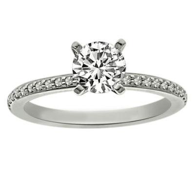 Womens 5/8 CT. T.W. Genuine Round White Diamond Platinum Solitaire Ring