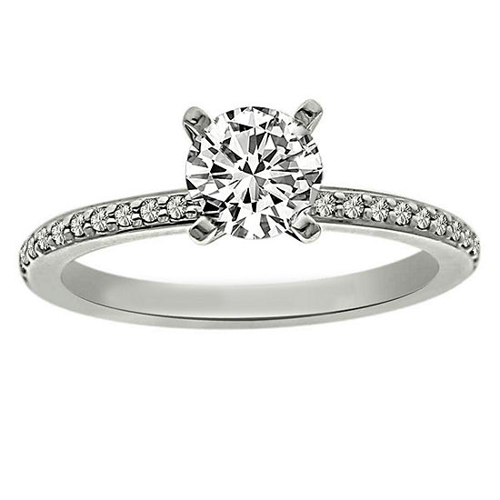 Womens 5/8 CT. T.W. Genuine White Diamond Platinum Solitaire Engagement Ring