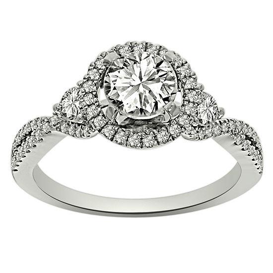 Womens 1 1/4 CT. T.W. Genuine White Diamond Platinum Engagement Ring