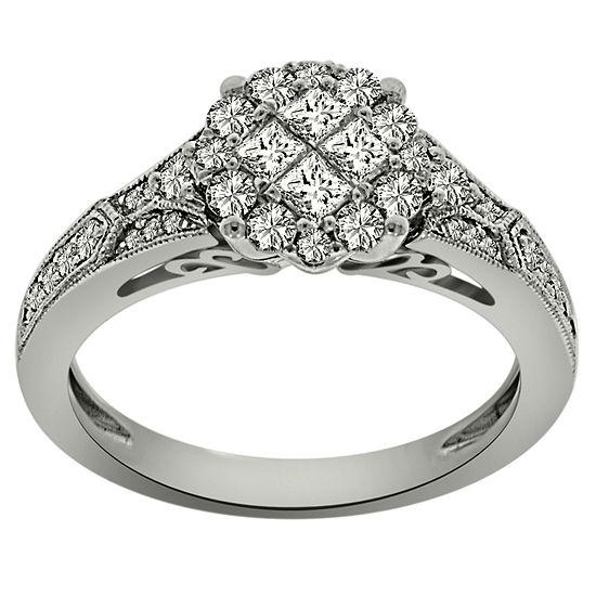 Womens 3/4 CT. T.W. Genuine White Diamond Platinum Engagement Ring