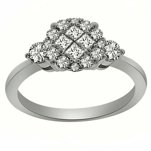 Womens 3/4 CT. T.W. Genuine Princess White Diamond Platinum Engagement Ring