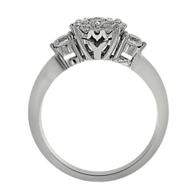 Womens 3/4 CT. T.W. Genuine White Diamond Platinum Engagement Ring
