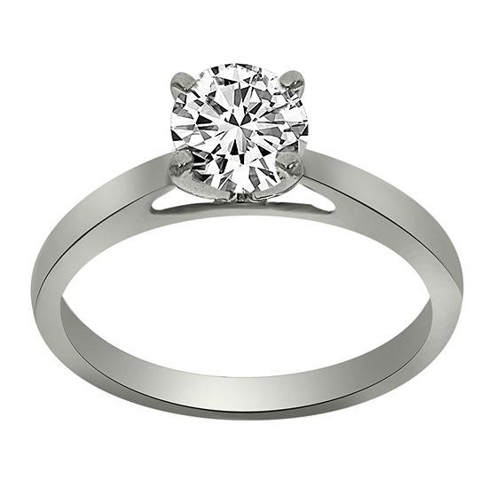 Womens 3/4 CT. T.W. Genuine White Diamond Platinum Solitaire Engagement Ring