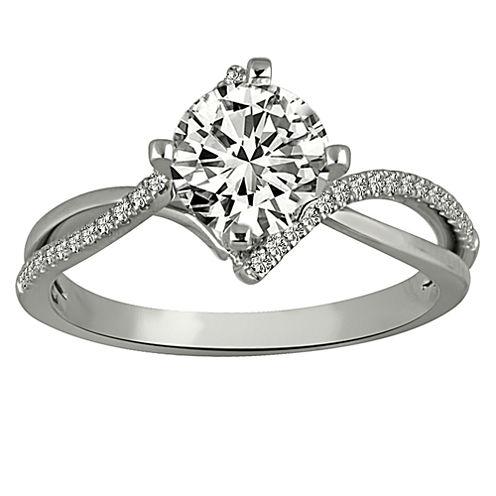 Womens 7/8 CT. T.W. Genuine Round White Diamond Platinum Engagement Ring