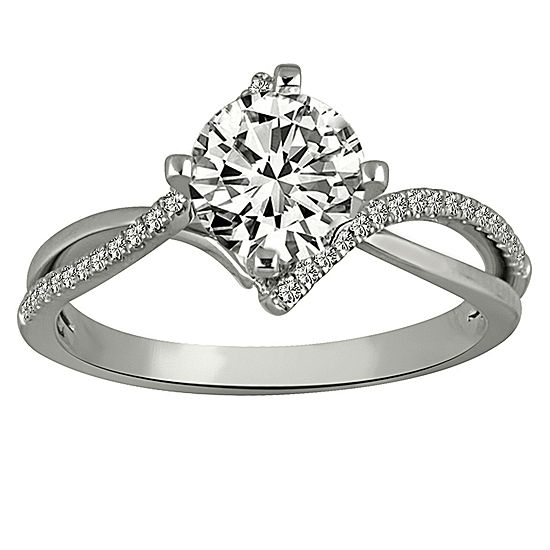 Womens 7/8 CT. T.W. Genuine White Diamond Platinum Engagement Ring