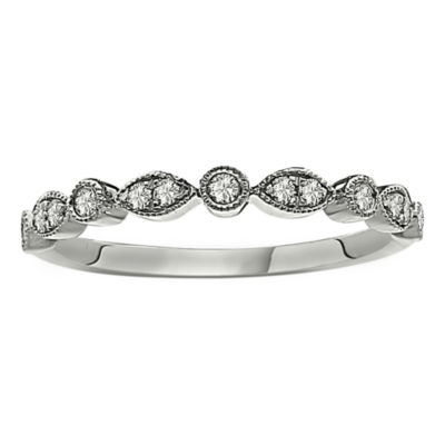 Womens 1/5 CT. T.W. Genuine White Diamond Platinum Band