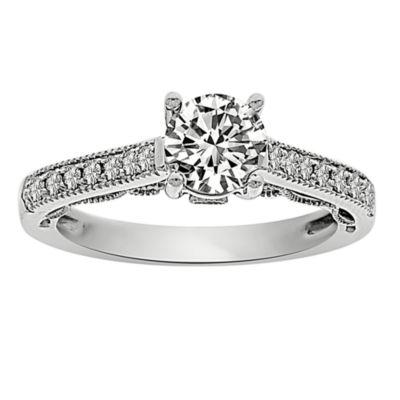 Womens 1 CT. T.W. Genuine Round White Diamond Platinum Engagement Ring