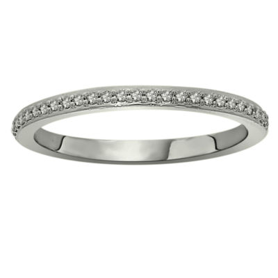 Womens 1/8 CT. T.W. Genuine White Diamond Platinum Wedding Band