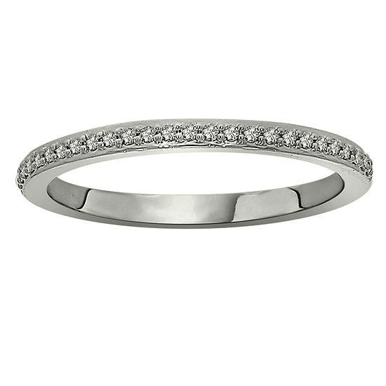Womens 2.5MM 1/8 CT. T.W. Genuine White Diamond Platinum Wedding Band