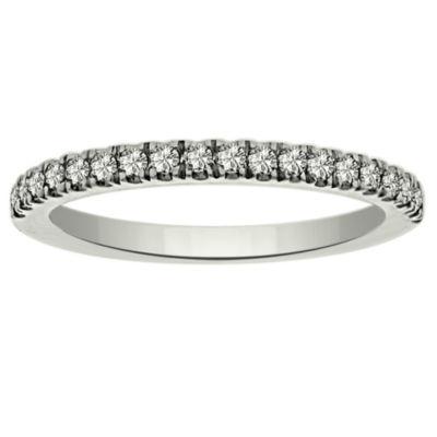 Womens 1/4 CT. T.W. Genuine White Diamond Platinum Wedding Band