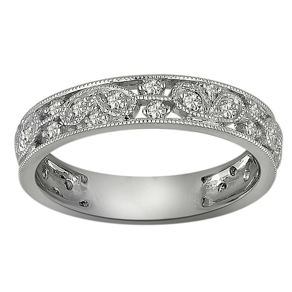 Womens 3/8 CT. T.W. Genuine White Diamond Platinum Band