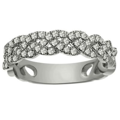 Womens 4.5MM 3/4 CT. T.W. Genuine White Diamond Platinum Band