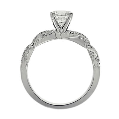 Womens 1/2 CT. T.W. Genuine White Diamond Platinum Engagement Ring