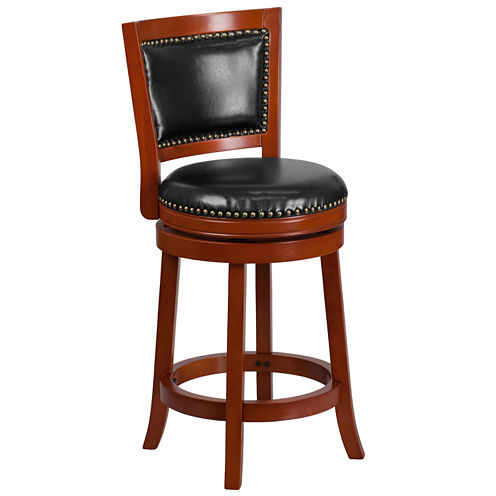 26in Wood and Leather Swivel Bar Stool