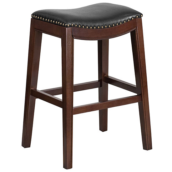 30 High Backless Wood Barstool With Leather Seat